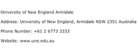 University of New England Armidale Address Contact Number
