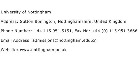 University of Nottingham Address Contact Number
