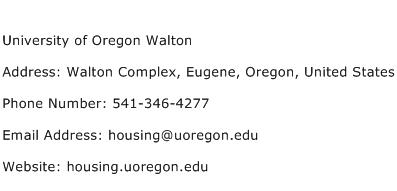 University of Oregon Walton Address Contact Number