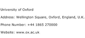 University of Oxford Address Contact Number