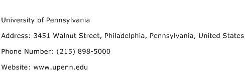 University of Pennsylvania Address Contact Number