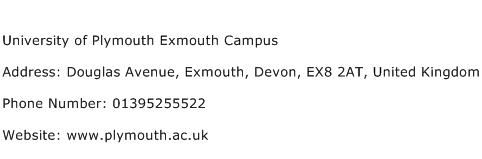 University of Plymouth Exmouth Campus Address Contact Number