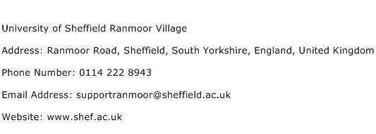University of Sheffield Ranmoor Village Address Contact Number