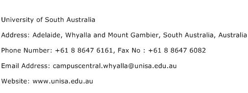 University of South Australia Address Contact Number