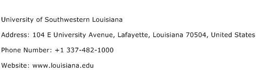 University of Southwestern Louisiana Address Contact Number