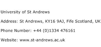 University of St Andrews Address Contact Number