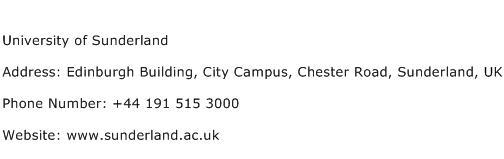University of Sunderland Address Contact Number