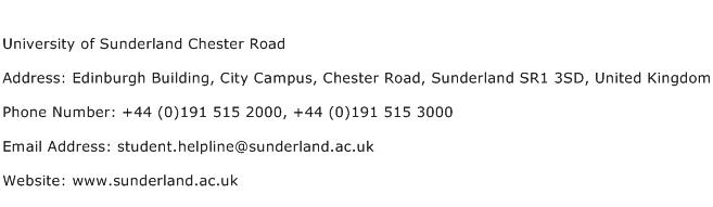 University of Sunderland Chester Road Address Contact Number