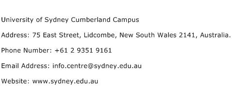 University of Sydney Cumberland Campus Address Contact Number