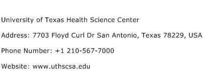 University of Texas Health Science Center Address Contact Number