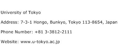 University of Tokyo Address Contact Number