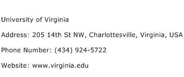 University of Virginia Address Contact Number