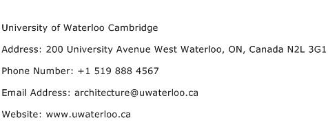 University of Waterloo Cambridge Address Contact Number