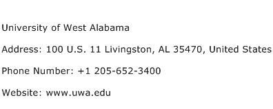 University of West Alabama Address Contact Number