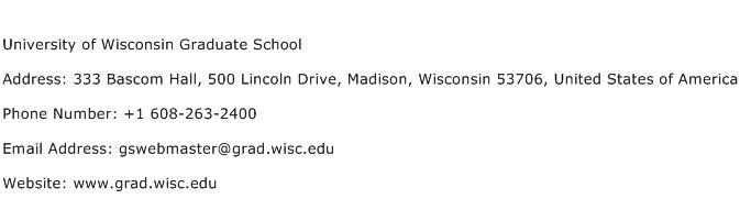 University of Wisconsin Graduate School Address Contact Number
