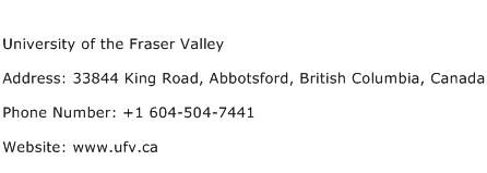 University of the Fraser Valley Address Contact Number