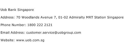 Uob Bank Singapore Address Contact Number