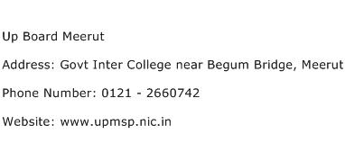 Up Board Meerut Address Contact Number