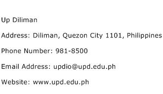 Up Diliman Address Contact Number