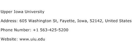 Upper Iowa University Address Contact Number