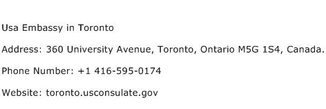 Usa Embassy in Toronto Address Contact Number