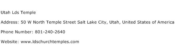 Utah Lds Temple Address Contact Number