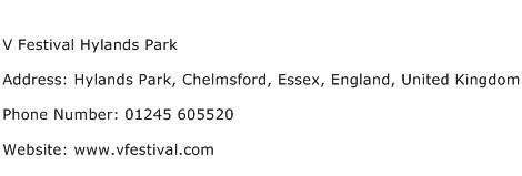 V Festival Hylands Park Address Contact Number