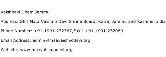 Vaishnavi Dham Jammu Address Contact Number