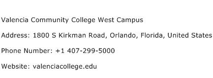 Valencia Community College West Campus Address Contact Number