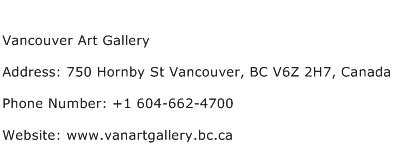Vancouver Art Gallery Address Contact Number
