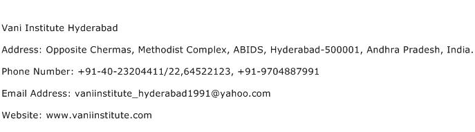Vani Institute Hyderabad Address Contact Number
