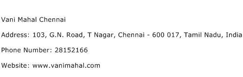 Vani Mahal Chennai Address Contact Number