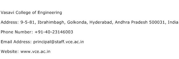 Vasavi College of Engineering Address Contact Number