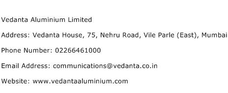 Vedanta Aluminium Limited Address Contact Number