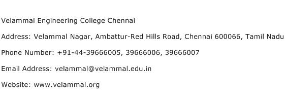 Velammal Engineering College Chennai Address Contact Number