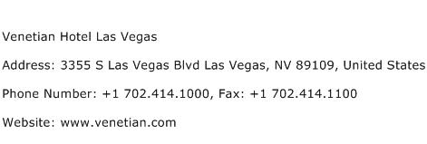 Venetian Hotel Las Vegas Address Contact Number