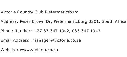 Victoria Country Club Pietermaritzburg Address Contact Number