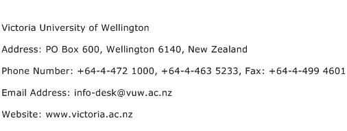 Victoria University of Wellington Address Contact Number