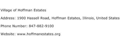 Village of Hoffman Estates Address Contact Number