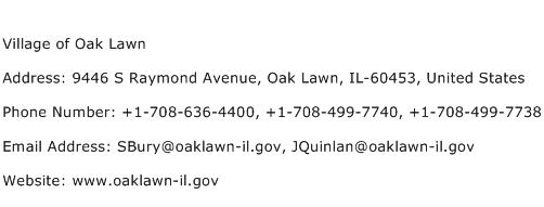 Village of Oak Lawn Address Contact Number