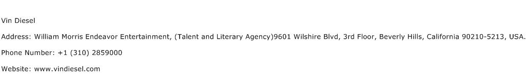 Vin Diesel Address Contact Number