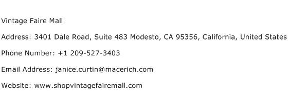 Vintage Faire Mall Address Contact Number