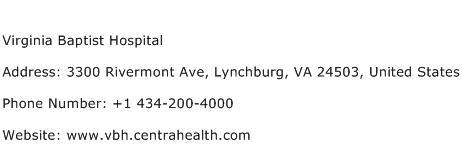 Virginia Baptist Hospital Address Contact Number