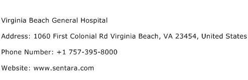 Virginia Beach General Hospital Address Contact Number