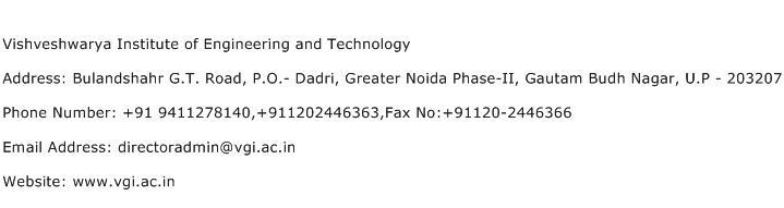 Vishveshwarya Institute of Engineering and Technology Address Contact Number