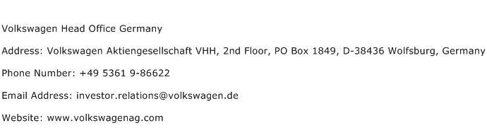 Volkswagen Head Office Germany Address Contact Number