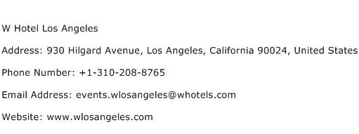 W Hotel Los Angeles Address Contact Number