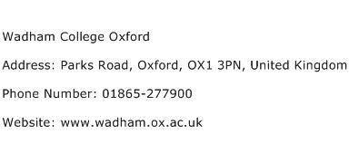 Wadham College Oxford Address Contact Number