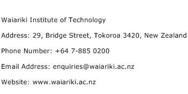 Waiariki Institute of Technology Address Contact Number