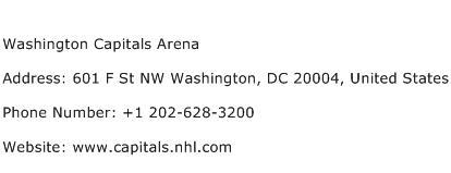 Washington Capitals Arena Address Contact Number